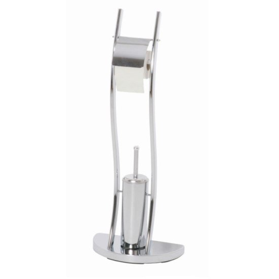 Contemporary Chrome Toilet Paper And Brush Holder