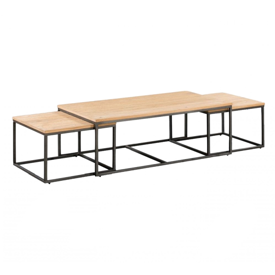 Tojil Coffee Table And End Table Set In Oak With Metal Legs_1