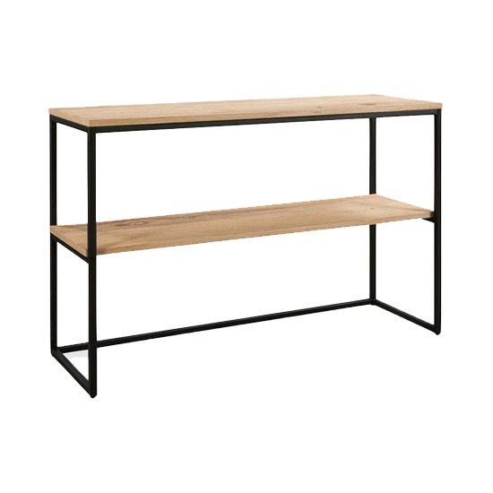 Tojil Console Table In Oak With Shelf And Metal Legs