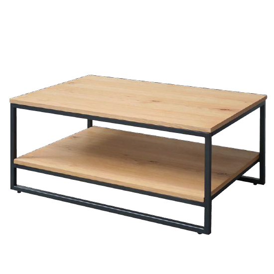 Tojil Rectangular Coffee Table In Oak With Shelf And Metal Legs