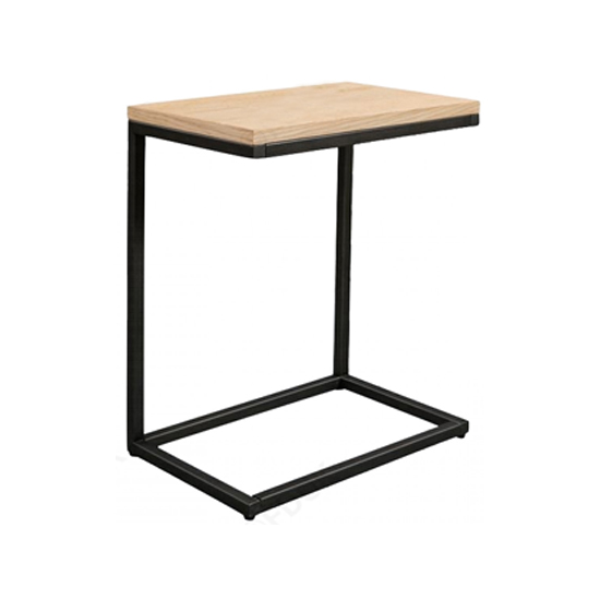 Tojil Side Table In Oak With Metal Legs_1
