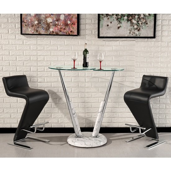 Tokyo Glass Bar Table And Gloss Marble Effect 2 Farello Stools