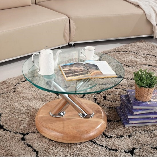 Tokyo Clear Glass Top Coffee Table In Beech_2