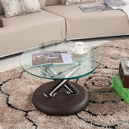 Tokyo Clear Glass Top Coffee Table In Brown_2