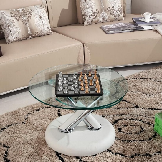 Tokyo Rotating Glass Coffee Table With White Leatherette