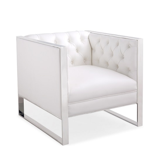 Product photograph showing Toledo Sofa Chair In Oyster White Faux Leather