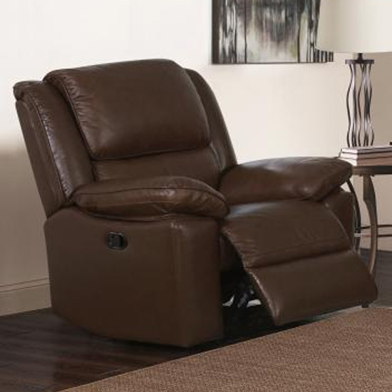 Toledo Leather And PVC Recliner 1 Seater Sofa In Brown