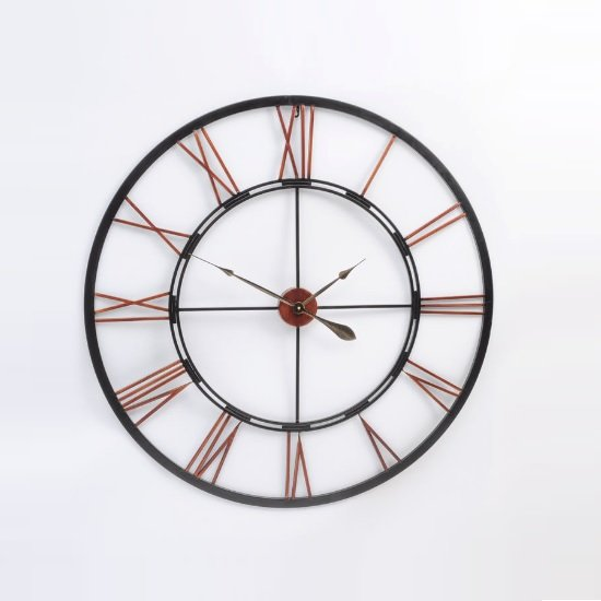 Toledo Vintage Metal Wall Clock In Rustic Look