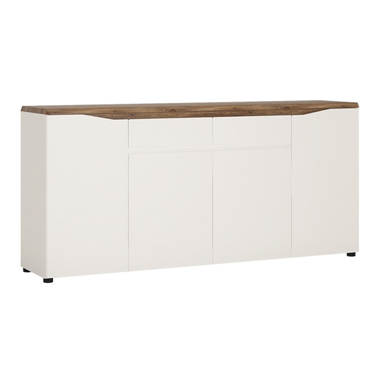 Toltec Wooden Sideboard In Oak And White High Gloss With 4 Doors