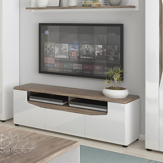 Toltec Wide Wooden TV Stand In Oak And White High Gloss