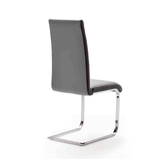 Top Grey and Black Pu Leather Dining Chair