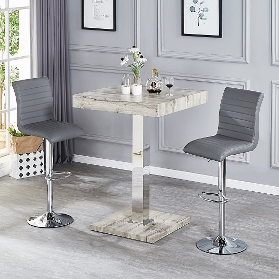 Topaz Bar Table In Grey Oak Effect With 2 Ripple Grey Stools