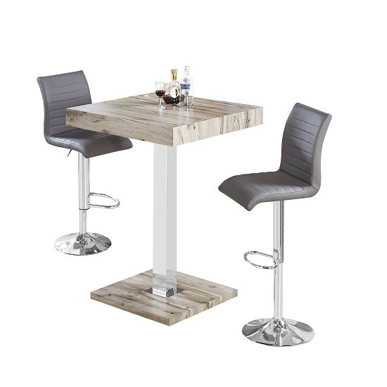 Topaz Bar Table In Grey Oak Effect With 2 Ripple Grey Stools_2