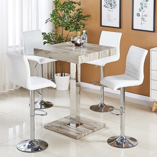 Topaz Bar Table In Grey Oak Effect With 4 Ripple White Stools_1