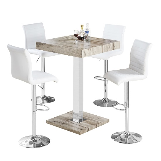 Topaz Bar Table In Grey Oak Effect With 4 Ripple White Stools_2