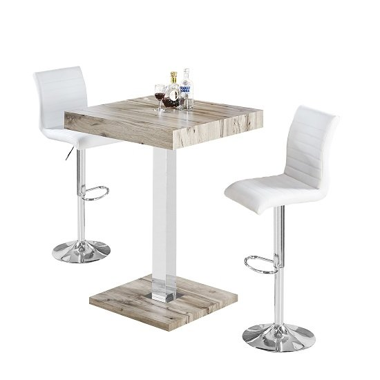 Topaz Bar Table In Grey Oak Effect With 2 Ripple White Stools_2
