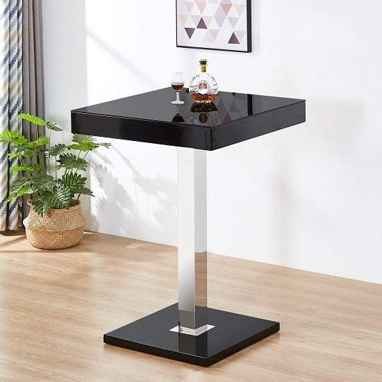 Topaz Glass Top Bar Table In Black High Gloss Stainless Steel