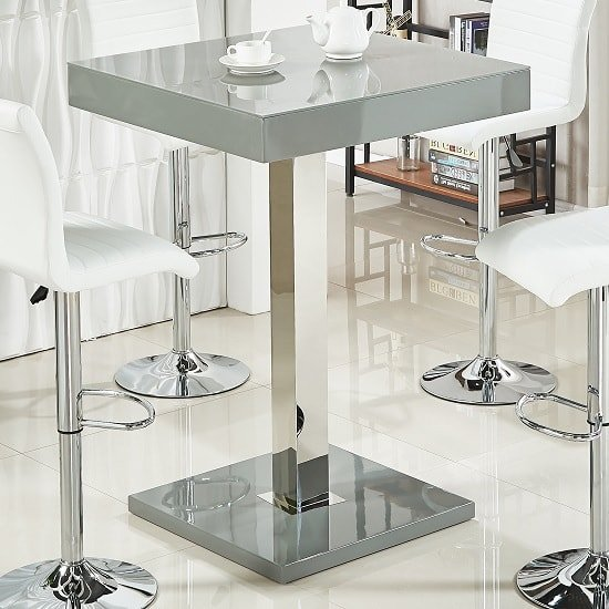 Topaz Glass Top Bar Table In Grey High Gloss And Stainless Steel