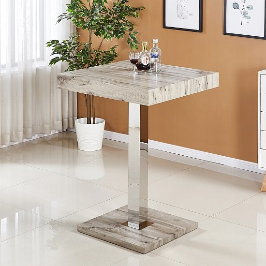 Topaz Bar Table In Grey Oak Effect And Stainless Steel