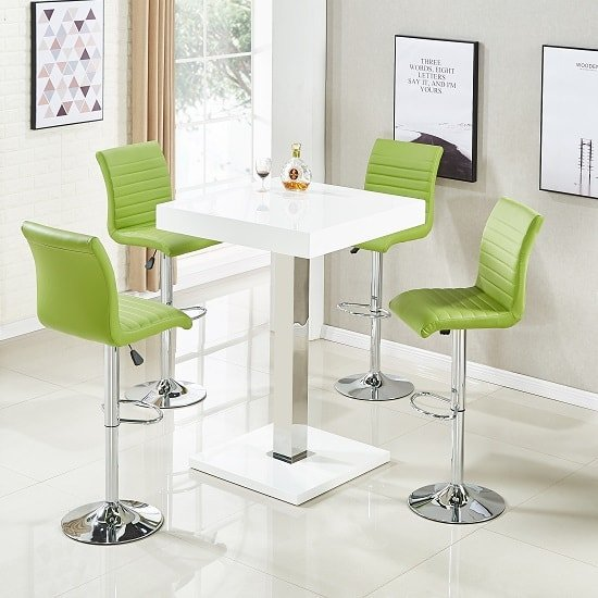 Topaz Bar Table In White High Gloss 4 Ripple Lime Green Stools