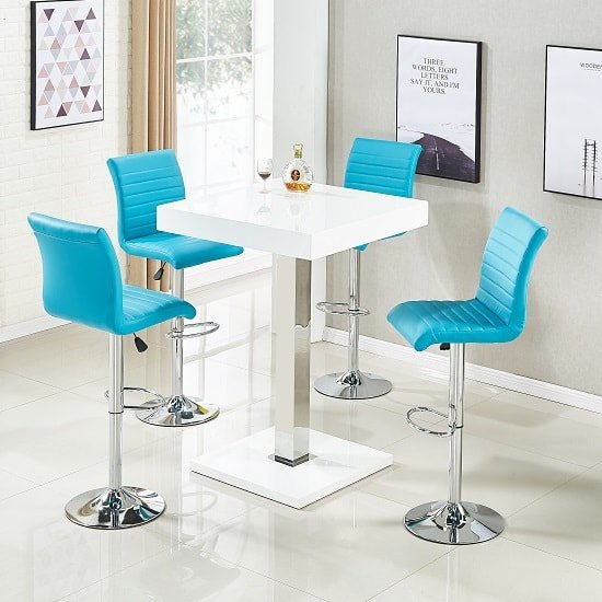 Topaz Bar Table In White High Gloss 4 Ripple Turquoise Stools