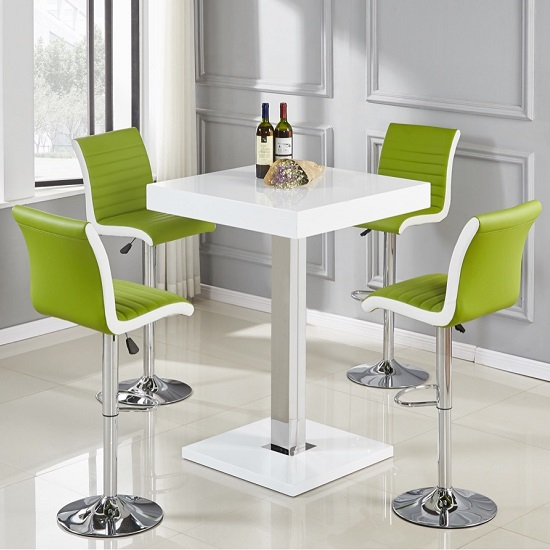 Topaz Bar Table In White High Gloss And 4 Ritz Lime Stools