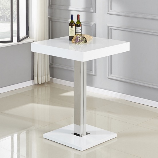 Topaz Bar Table Square In White High Gloss And Stainless Steel