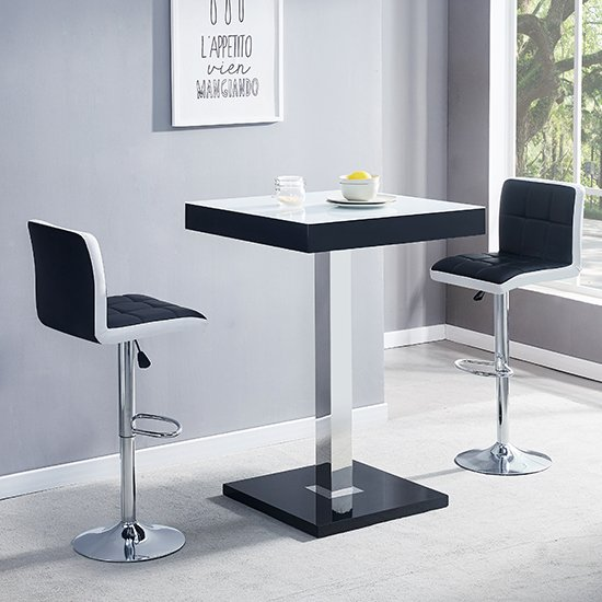 Topaz Black White Glass Bar Table With 2 Copez Black White Stool