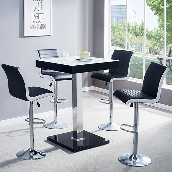 Topaz Black White Glass Bar Table With 4 Ritz Black White Stools
