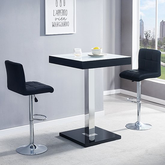 Topaz Black White Glass Bar Table With 2 Coco Black Stools_1