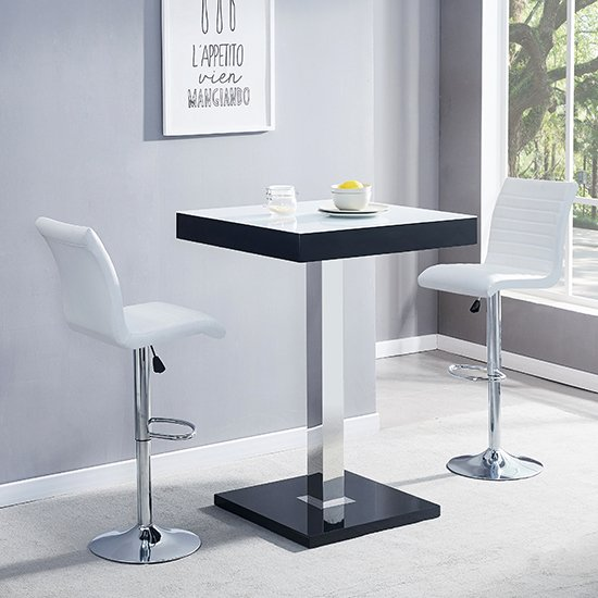 Topaz Black White Glass Bar Table With 2 Ripple White Stools