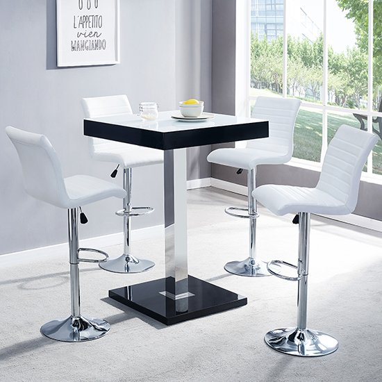 Topaz Black White Glass Bar Table With 4 Ripple White Stools