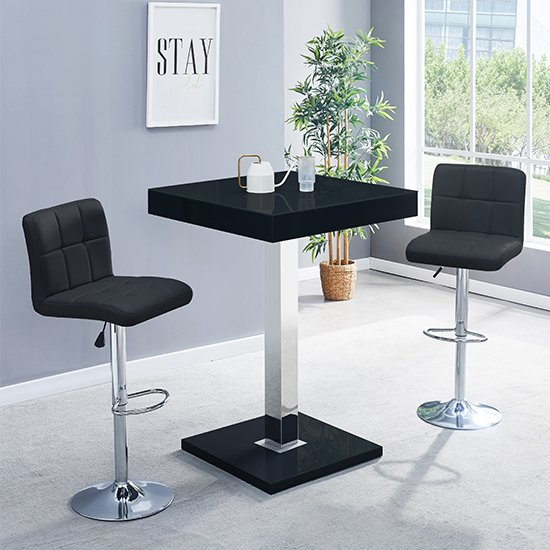 Topaz Glass Bar Table In Black Gloss With 2 Coco Black Stools