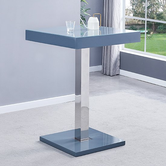Topaz Glass Bar Table In Grey With 2 Ripple Grey Stools_2