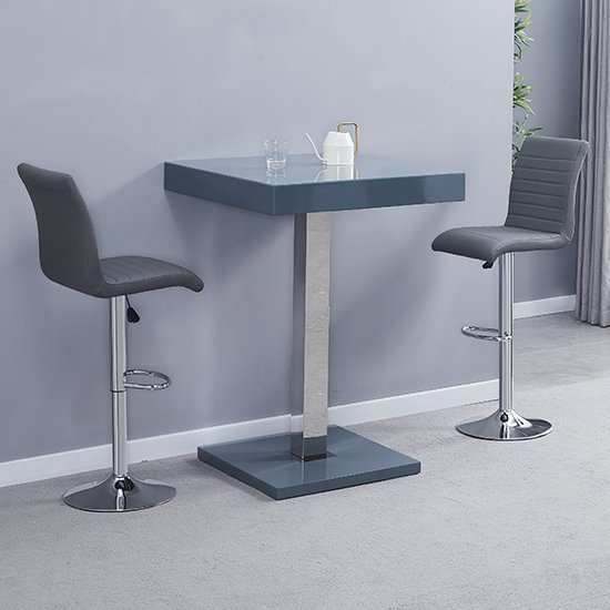 Topaz Glass Bar Table In Grey With 2 Ripple Grey Stools_1