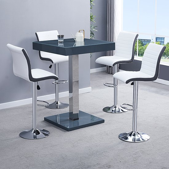 Topaz Glass Bar Table In Grey With 2 Ritz Grey White Stools