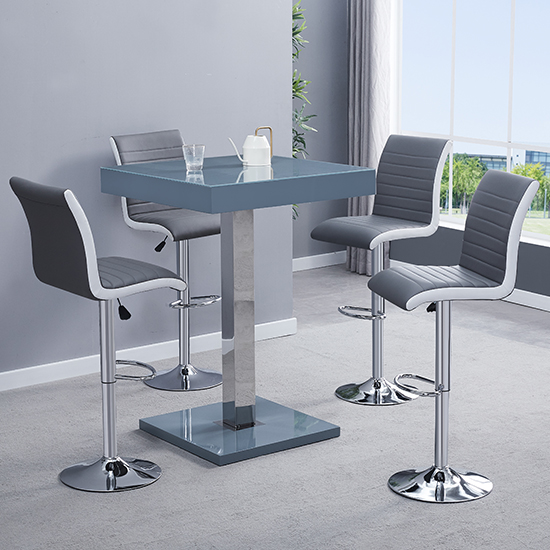 Topaz Glass Bar Table In Grey With 4 Ritz Grey White Stools