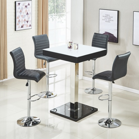 Topaz White Glass Top Bar Table In Black Gloss 4 Ripple Stools