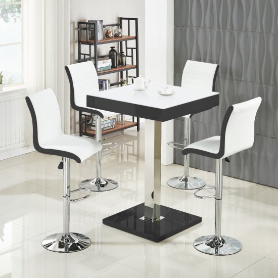 Topaz White Glass Top Bar Table In Black Gloss And 4 Ritz Stools