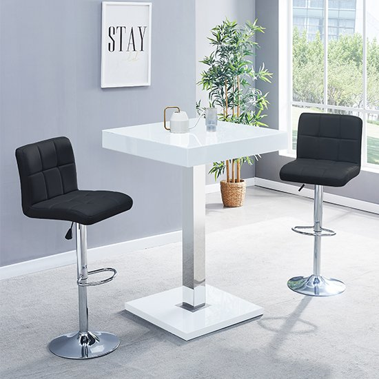 Topaz Glass Bar Table In White Gloss With 2 Coco Black Stools