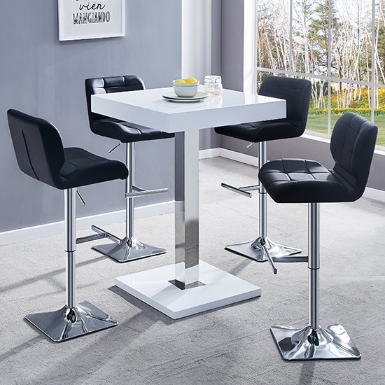 Topaz White Gloss Bar Table With 4 Candid Black Bar Stools