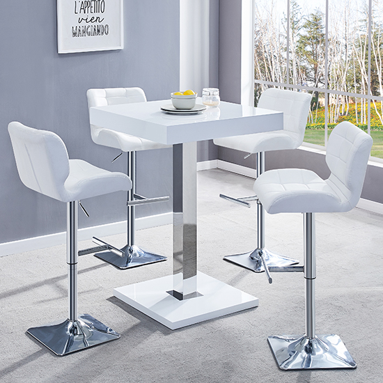Topaz White Gloss Bar Table With 4 Candid White Bar Stools
