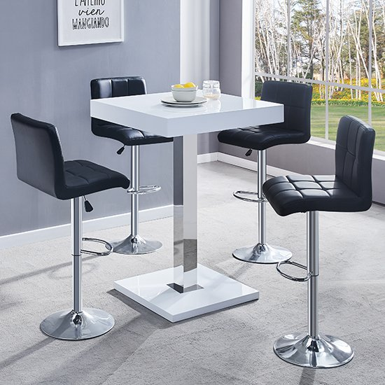Topaz White Gloss Bar Table With 4 Coco Black Bar Stools