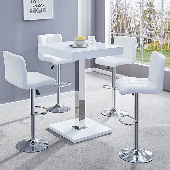 View Topaz white gloss bar table with 4 coco white bar stools