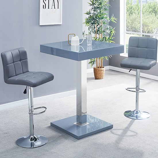Topaz Glass Bar Table In Grey Gloss With 2 Coco Grey Stools