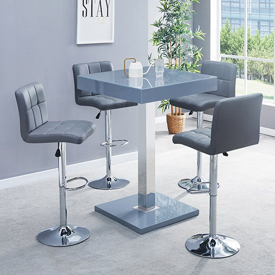 Topaz Glass Bar Table In Grey Gloss With 4 Coco Grey Stools