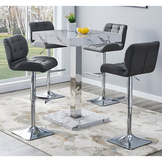 Topaz Gloss Bar Table In Diva Marble Effect With 4 Candid Grey Bar Stools