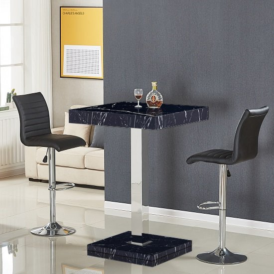 Topaz Black Gloss Bar Table In Milano Effect With 2 Ripple Black Bar Stools_1