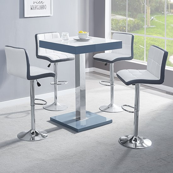 Topaz Grey White Glass Bar Table With 4 Copez White Grey Stools