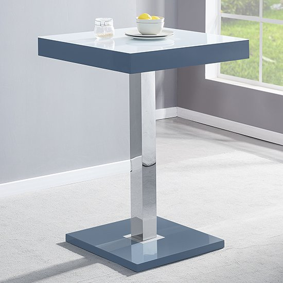 Topaz Grey White Glass Bar Table With 2 Coco White Stools_2